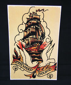 5228d313b Image is loading Homeward-Bound-Ship-Navel-Sailor-Jerry-Traditional-style-