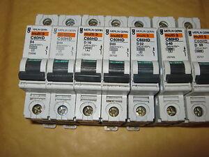 MERLIN GERIN C60HD D6 AMP D10 D16 D20 D32 D40 AMP Multi 9 MCB CIRCUIT BREAKER
