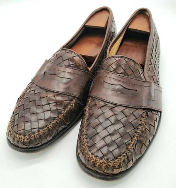 COLE HAAN Men's Brown Leather Weave Pattern Penny Loafers ...