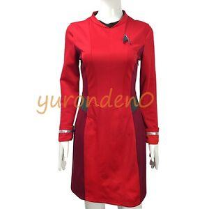 Details about Cosplay Star Trek Female Duty TOS Uniform Red Dress Costume Suit Women Dress New
