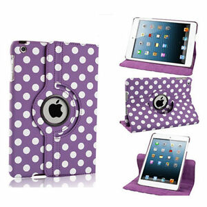 PURPLE-Fashion-Dots-Leather-360-Rotating-Stand-Case-Cover-For-iPad-2-3-4-UK