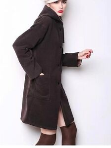 29069a6c41d202 Giacca giaccone cappotto donna morbido e caldo marrone con cappuccio ...