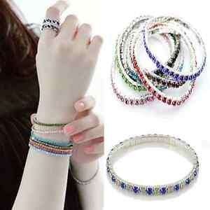 Fashion-Womens-Tennis-Rhinestone-Crystal-Silver-Wedding-Bridal-Stretch-Bracelet