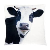 Cow Cushion Throw Pillow Ashdene Black White Velvet Large Farm Animal 17 Square