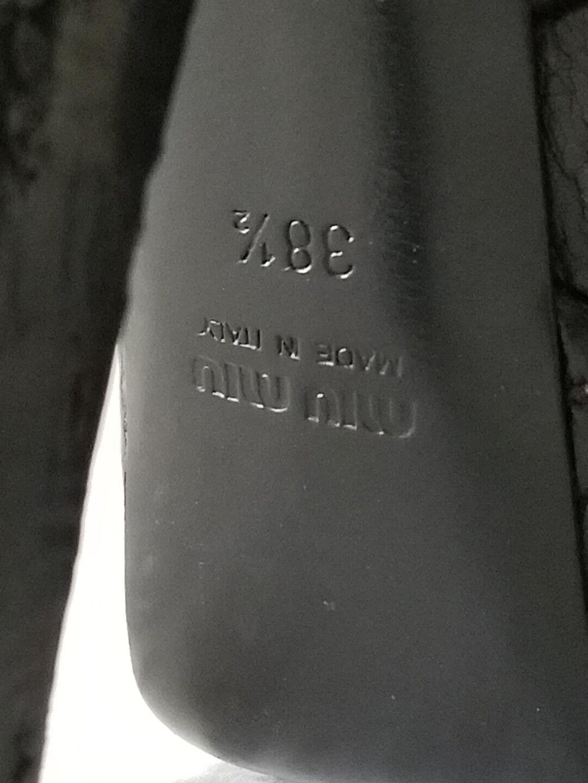 Miu miu by PRADA Cristal Tacón De Plataforma De Cristal PRADA Correa de Cuero Negro Sandalia zapatos talla 38.5 f5c6fe