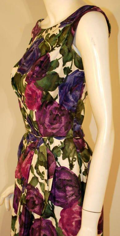 CEIL CHAPMAN 1950s Violet Cotton Floral Print Wig… - image 7
