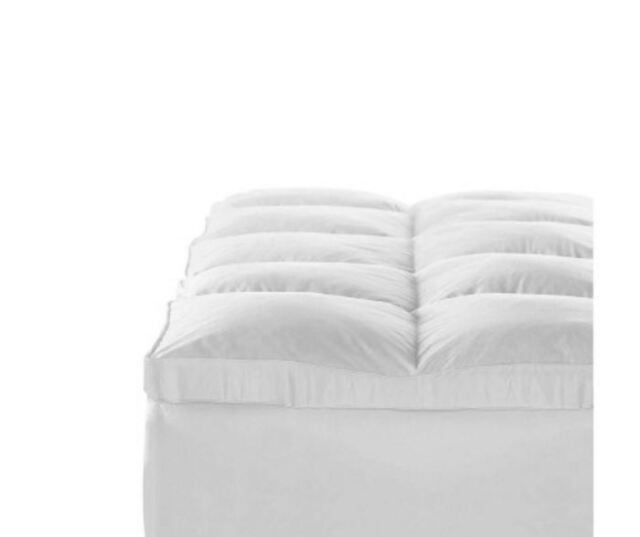 NEW DUCK FEATHER & DOWN PILLOWTOP MATRESS TOPPER QUEEN WHITE BEDDINGS BEDROOM