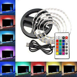 tv rgb led usb 2 meter fernseher backlight hintergrund beleuchtung fernbedienung ebay. Black Bedroom Furniture Sets. Home Design Ideas