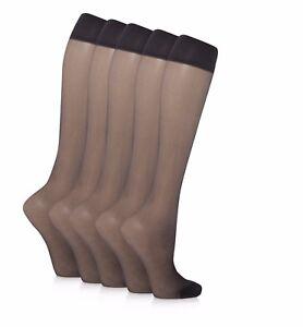 60d06b0b5 10 pairs 15 Denier Ladies Soft Sheer Knee High Comfort Top Pop Socks ...
