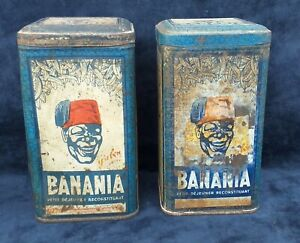 BANANIA  LOT 2 BOITES A EPICES (CAFE SUCRE) ANCIENNES PUBLICITAIRES ANNEES 1930
