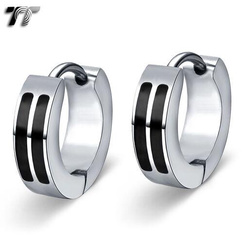 Ttstyle 4mm Stainless Steel Double Black Stripe Hoop Earrings A Pair New