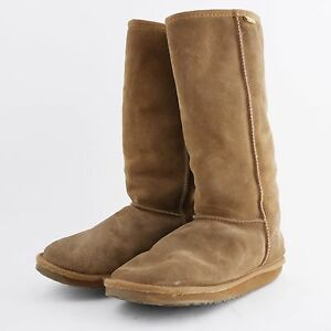 EMU-AUSTRALIA-Brown-Suede-Leather-Boots-Mid-Calf-Sheepskin-Lined-Women-039-s-10
