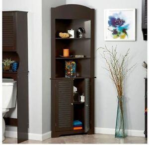 La Foto Se Está Cargando Corner Cabinet Shelf Bathroom Storage Organizer Linen Closet