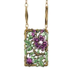Anne Koplik Designs Crystal and Enamel Butterfly Fabulous Necklace Made in USA