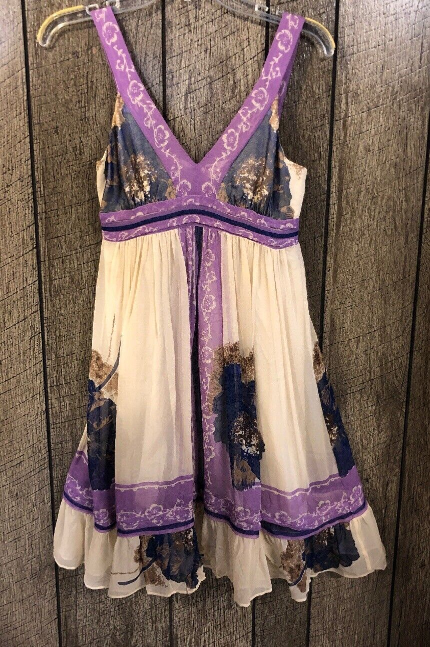 Lil Anthropologie Ivory Purple Print Sleeveless 100% Silk Dress Women's Size 0