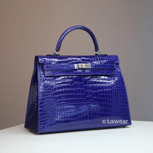 Electrique 35cm Bleu Hermes auténtico herrajes con Croc Nuevo plateados Kelly wHRUTp
