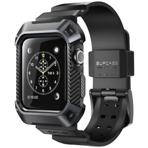 Rugged Protective Case With Strap Bands For Apple Watch Series 3 2 1 42mm Black 822438949139 Ebay