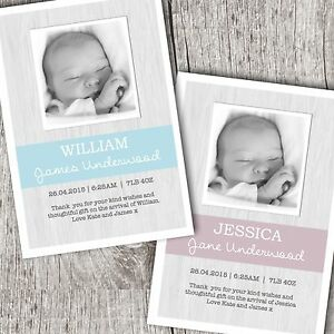Personalised Photo Thank You Cards ~ Baby Boy or Girl Christening Birthday
