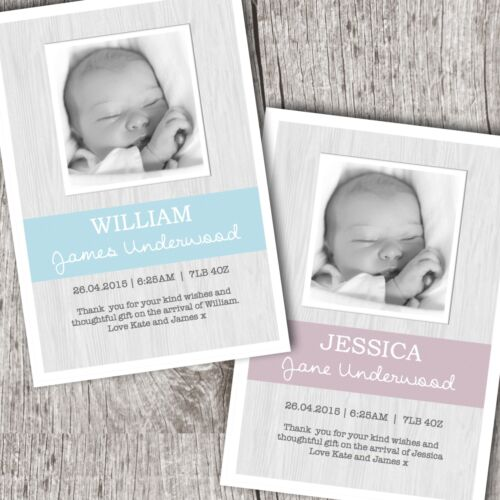 Baby Boy//Girl D64 Personalised PHOTO Thank You Cards ~ Announcement//Christening