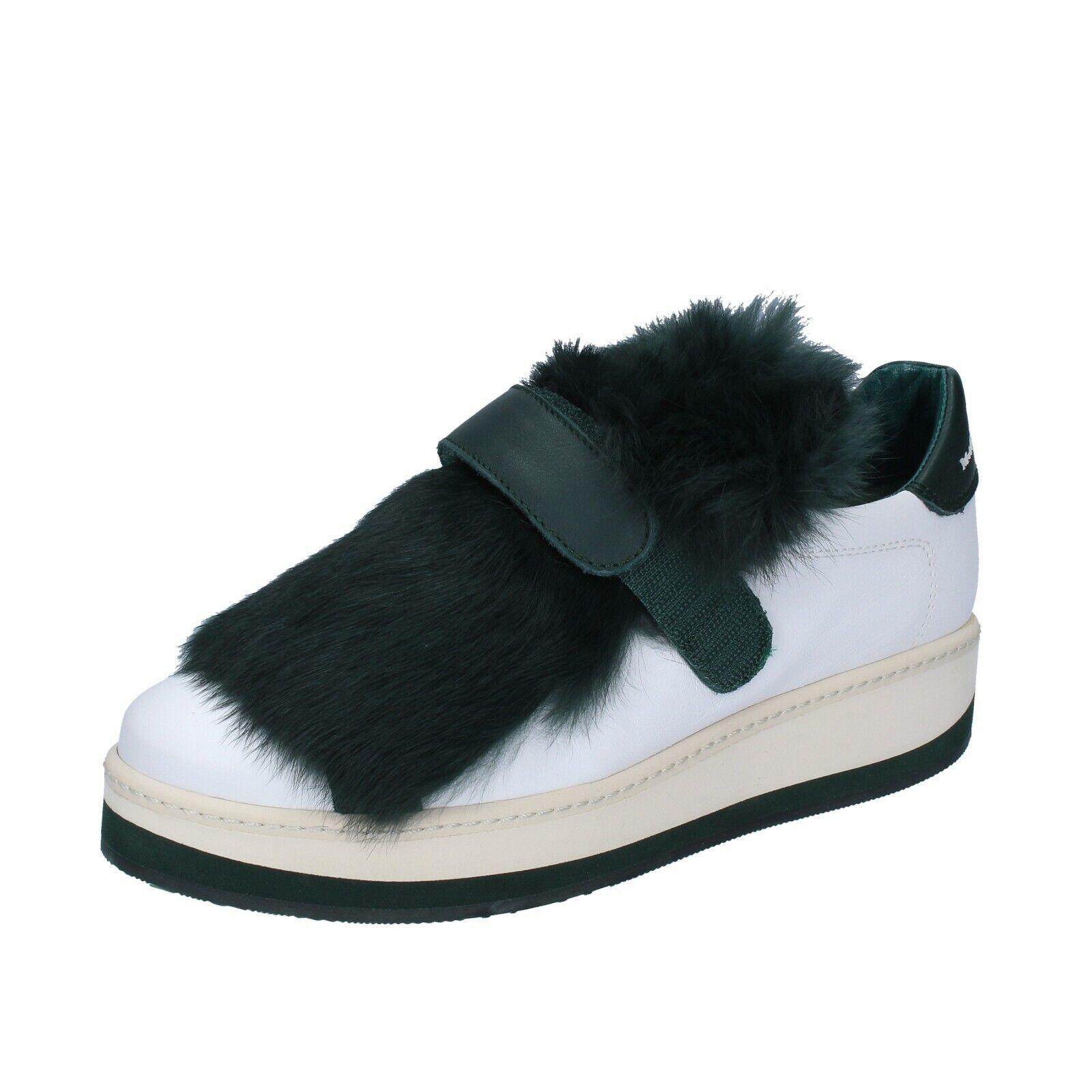 Kvinnor skor Manuel Barcelo 37 EU -utbildare grön vit vit vit läder Fur BS331 -37  gratis frakt