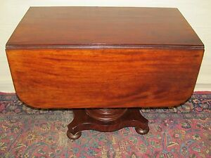 19TH-C-CLASSICAL-EMPIRE-MAHOGANY-ANTIQUE-DROP-LEAF-BREAKFAST-DINING-TABLE-MA