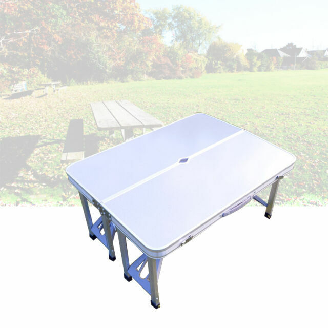 Camping Furniture 120cm White//Cream 4FT Height Adjustable ECD Germany Folding Camping Table Adjustable Heavy Duty Picnic Table Portable Outdoor Aluminium Table with 4 Stools Hinged