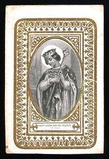 santino incisione 1800 S.LUIGI RE DI FRANCIA cornice dorata a rilievo