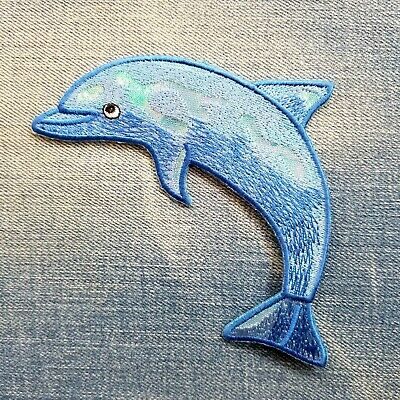 """Happy Dolphin Embroidered Patch 4.75""""x 3"""" sew or Iron On"""
