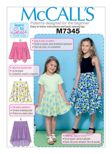 McCalls M7345 Learn to Sew for Fun PATTERN Childrens//Girls Skirts Size 3-14