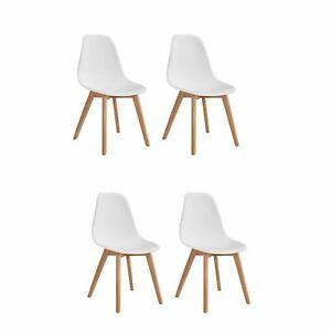Set 4 Sedie bianche in polipropilene e gambe in legno ...