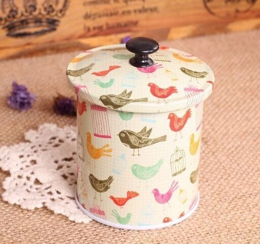 Retro Xmas Tree Leopard Santa Bird Candy Coffee Tea Can Container Jar Tin Metal