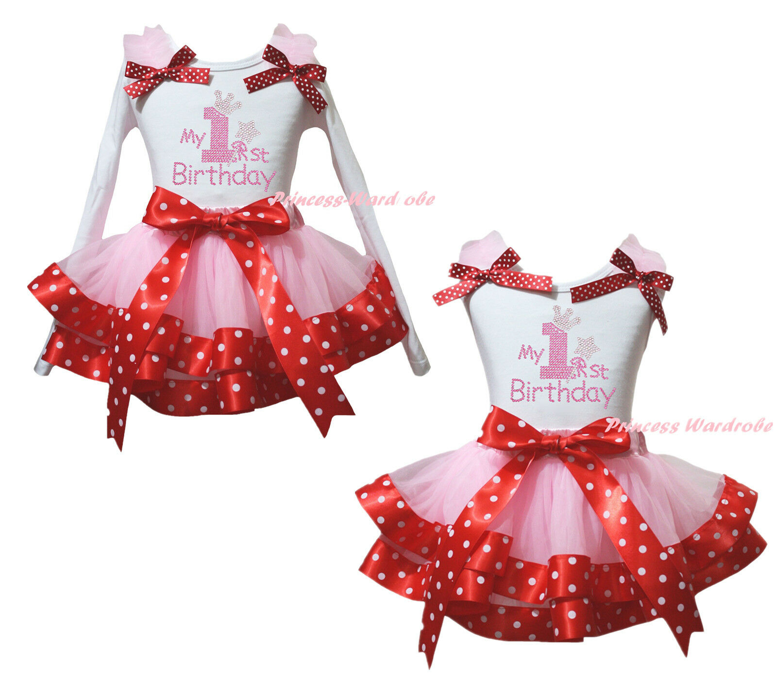 My 1ST Birthday White Cotton Top Pink Dot Satin Trim Skirt Girl Set Outfit NB-8Y