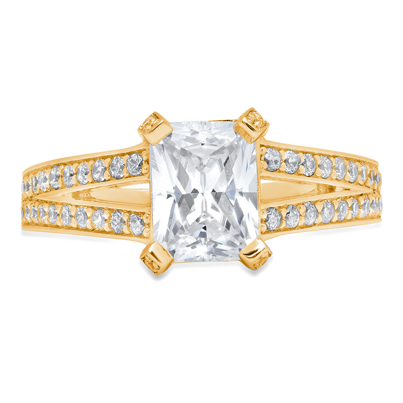2.80ct Emerald Round Cut Engagement Bridal Promise Ring 14k Solid Yellow gold
