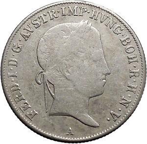 1840-Austria-Emperor-FERDINAND-I-Antique-Silver-Coin-20-Kreuzer-Eagle-i49125