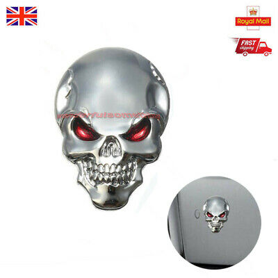 3D Chrome Metal Skull Cross Bone Car Trunk Motorcycle Emblem Badge Decal Sticker