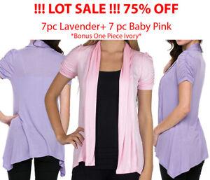 15Pc-Small-Women-039-s-Short-Sleeve-Open-Flyaway-Cardigan-Sweater-Lot