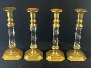 Mid Century Heavy Brass & Lucite Twist Candlesticks, Hollywood Regency, Set of 4