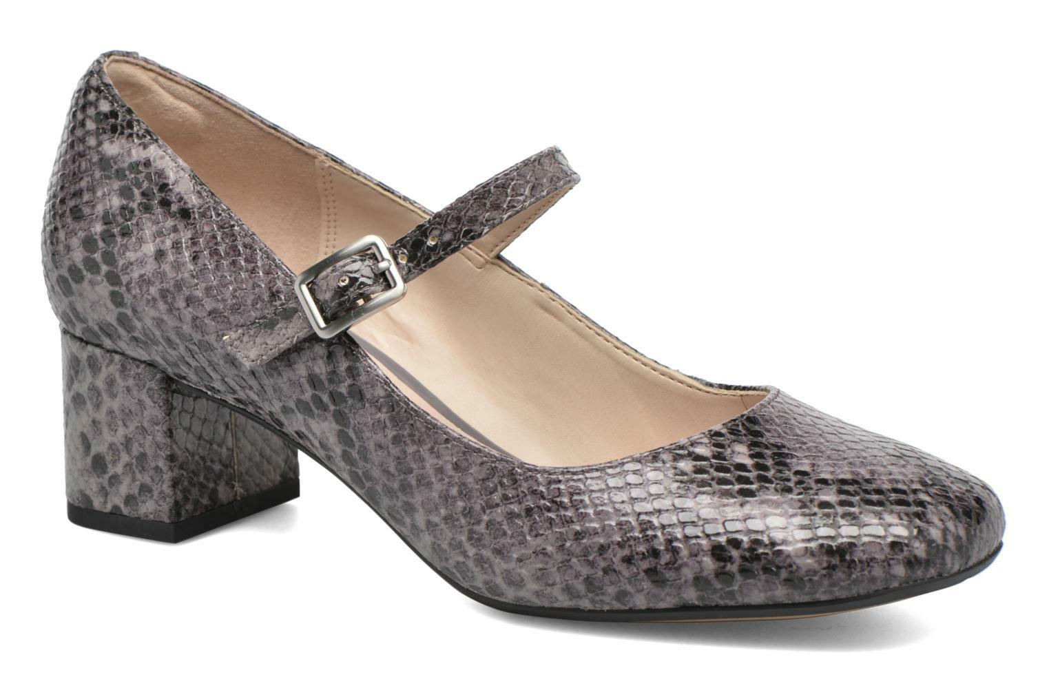 BNIB Clarks gris Snakeskin Leather Smart Mid Block Heel Mary Jane chaussures Taille 5.5
