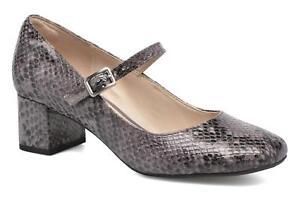 Bnib zapatos cuero cuero Mary Jane 6 elegante bloque talón Clarks gris serpiente medio tamaño de wCpCr