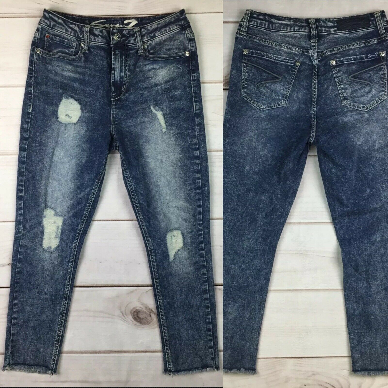 8ff8a3711822f 7 Seven For All Mankind 8 High Rise Ankle Skinny Jeans Acid Wash Ripped