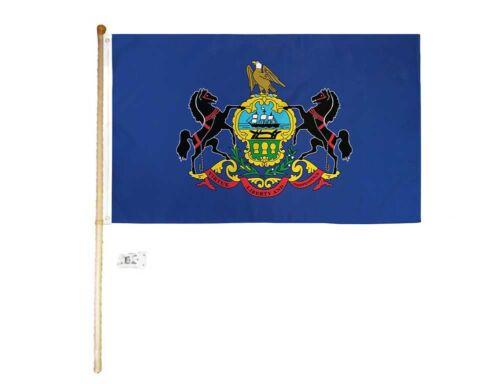 5 Foot Wooden Flag Pole Kit Wall Mount Bracket With 3x5 Pennsylvania House Flag