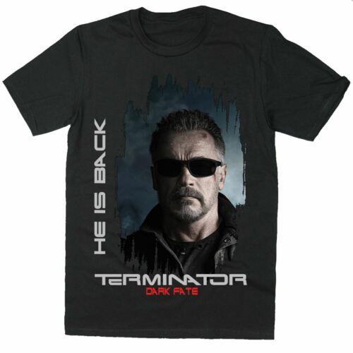 Terminator Dark Fate movie Mens T-Shirt Gift HE IS BACK  Mens T-Shirt