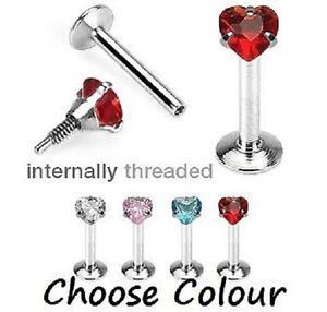 Internal-Thread-CZ-Heart-Tragus-Labret-Monroe-Lip-Piercing-Bar-1-2mm-8mm-E33