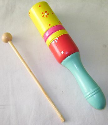 NEW WOODEN RHYTHM STICK CHILDREN'S PERCUSSION MUSIC INSTRUMENT BLUE HANDLE HOM
