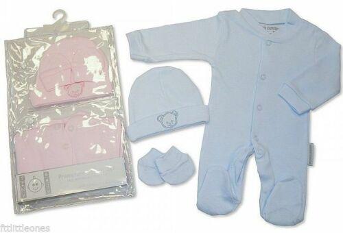 Baby Clothing Boys Girls  Premature  3 Piece Sleepsuit Hat Mittens Prem Set