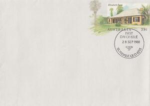 (13964) Australie Entiers Postaux Fdc Elizabeth Farm Parmatta 28 Sept. 1988-afficher Le Titre D'origine