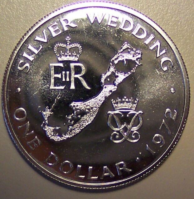 1972 BERMUDA DOLLAR - ELIZABETH II SILVER WEDDING ANNIVERSARY - PROOF