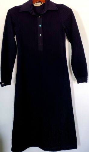 Vintage 1960's Designer GOLDWORM Black Knit Dress