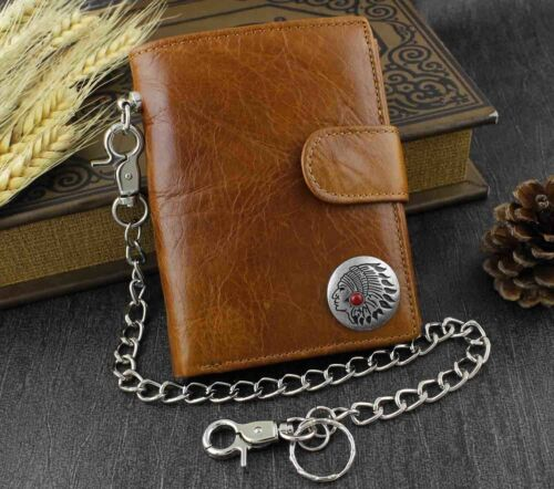 3Western Vintage Biker Men/'s Genuine Leather Brown Wallet Purse W// Chain WW7