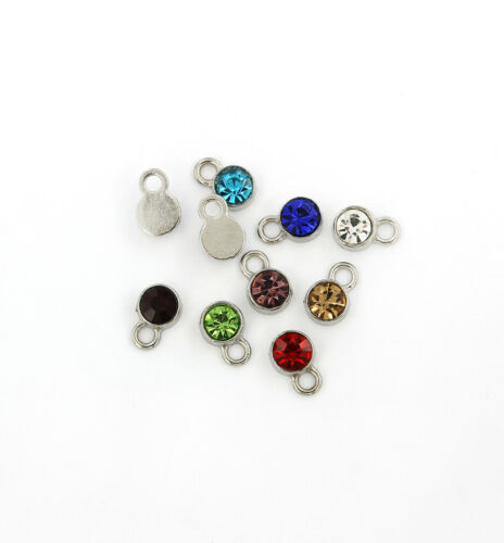 FD517 10 Assorted Color Rhinestone Drop Silver Tone Stainless Steel Charms
